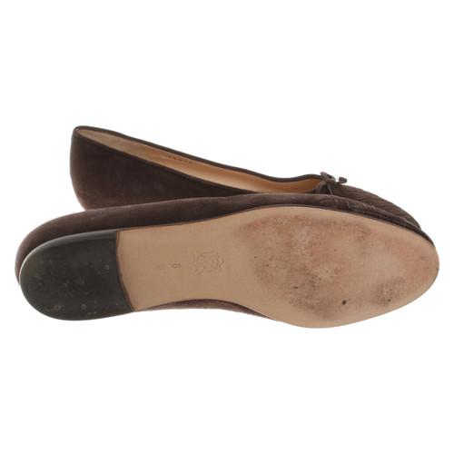 eedf573150bc Bottega Veneta Slippers Ballerinas Suede in Brown - Second Hand ...