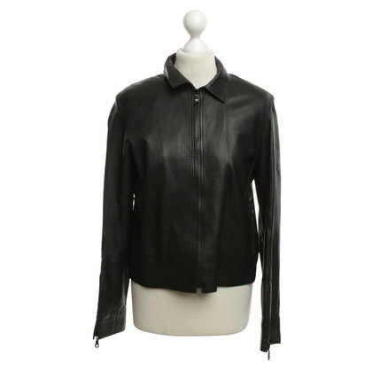 Costume National Veste en cuir noir