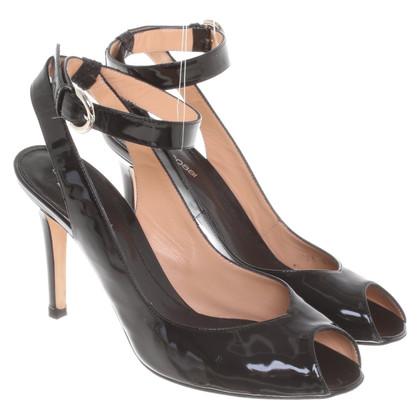 Sergio Rossi Laksleren sandalen in zwart