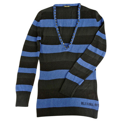 Blumarine Knit sweater with semi-precious stones