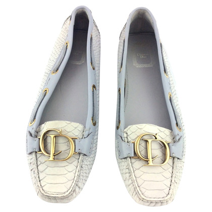 Christian Dior Loafers in grey made of reptile leather