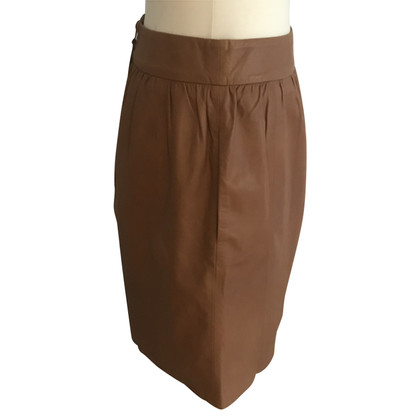 Steffen Schraut Leather skirt in cognac