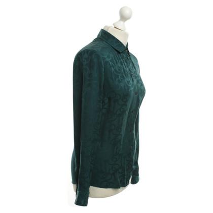 Gucci -Petrol gekleurde zijden blouse