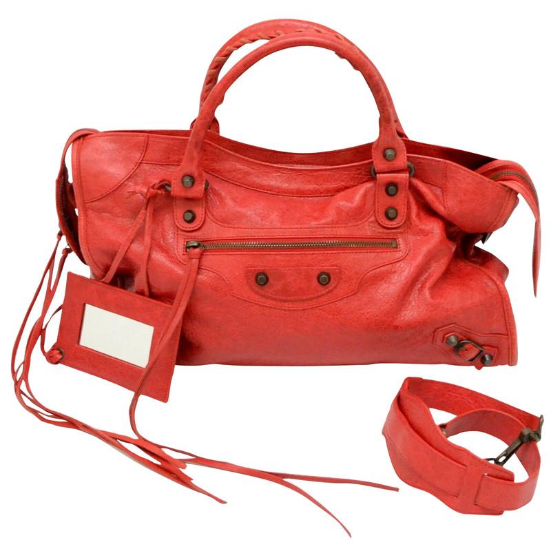 balenciaga city bag red