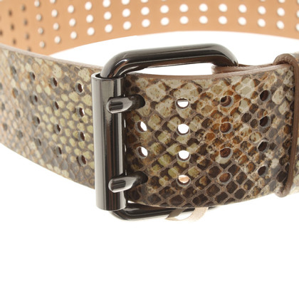 Schumacher Leather belt with reptile pattern