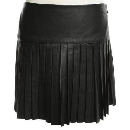 Ralph Lauren Leather pleated skirt in black