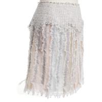 Chanel Fringe skirt in white / pastel