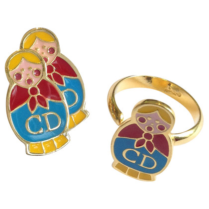Christian Dior Matryoshka earrings & ring