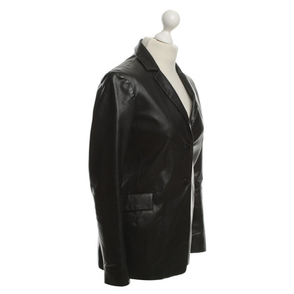 Jil Sander Leather Blazer in Black