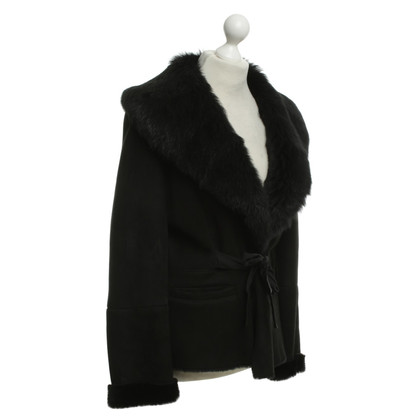 Max Mara Lambskin jacket in black
