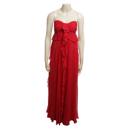 Badgley Mischka Robe en soie en rouge
