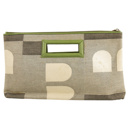 Bally Gray Green Clutch