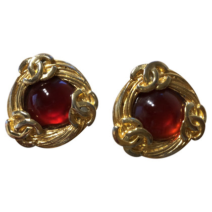 Chanel Ear clips with red stone