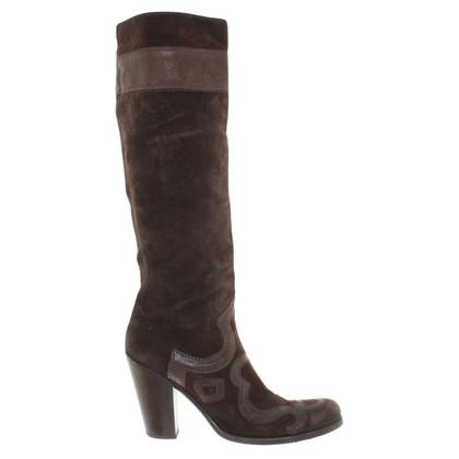 Miu Miu stivali di camoscio in marrone scuro