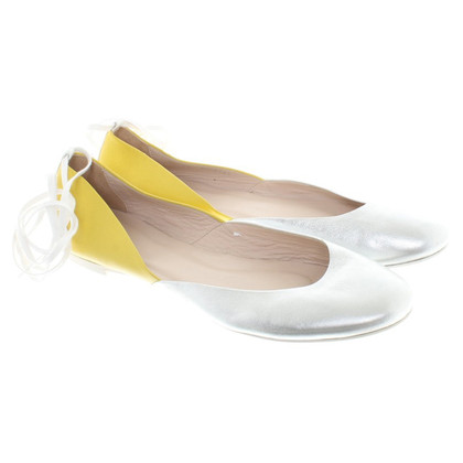 Escada Ballerinas in silver / yellow