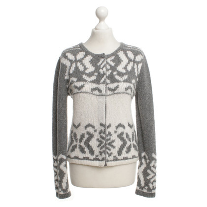 "Luisa Cerano Pullover in ""Norweger Design"" in Weiß / Grau"