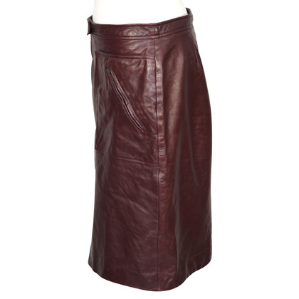 French Connection Leather skirt in dark red