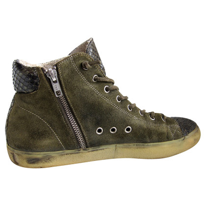 Leather Crown High-Top-Sneakers aus Pythonleder