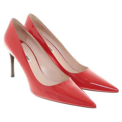 Miu Miu Lackleder-pumps in red