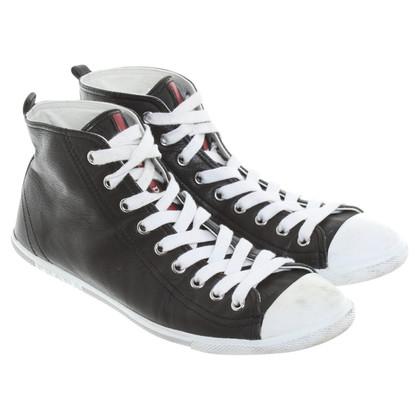 Prada Ledersneakers in black