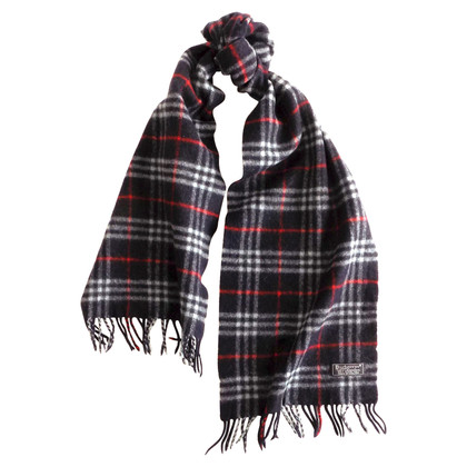 Burberry Blue wool scarf with tartan