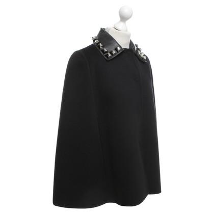 Fendi Virgin wool cape in black