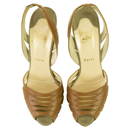 Christian Louboutin Tan Cut Out Slingback Peep Toe