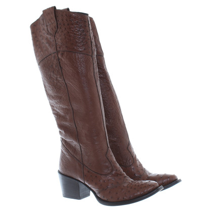 Gianni Barbato Ostrich leather boots