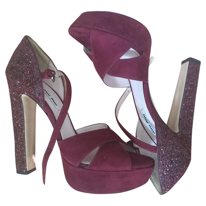 Miu Miu SUEDE SANDALS WITH GLITTER HEEL