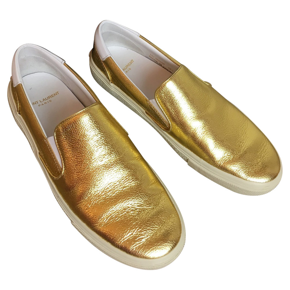 Saint Laurent Gold-colored slip ons - Buy Second hand ...