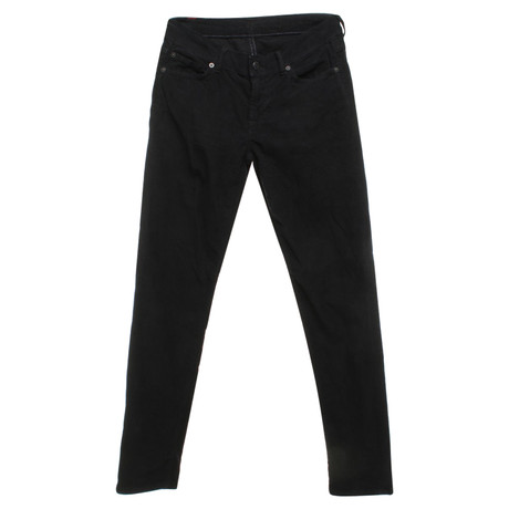 7 For All Mankind Cordhose in Schwarz Schwarz
