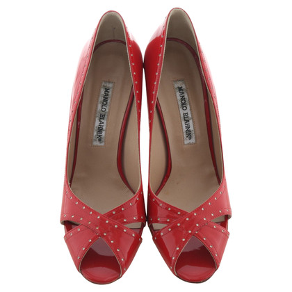 Manolo Blahnik Peeptoes in Rot