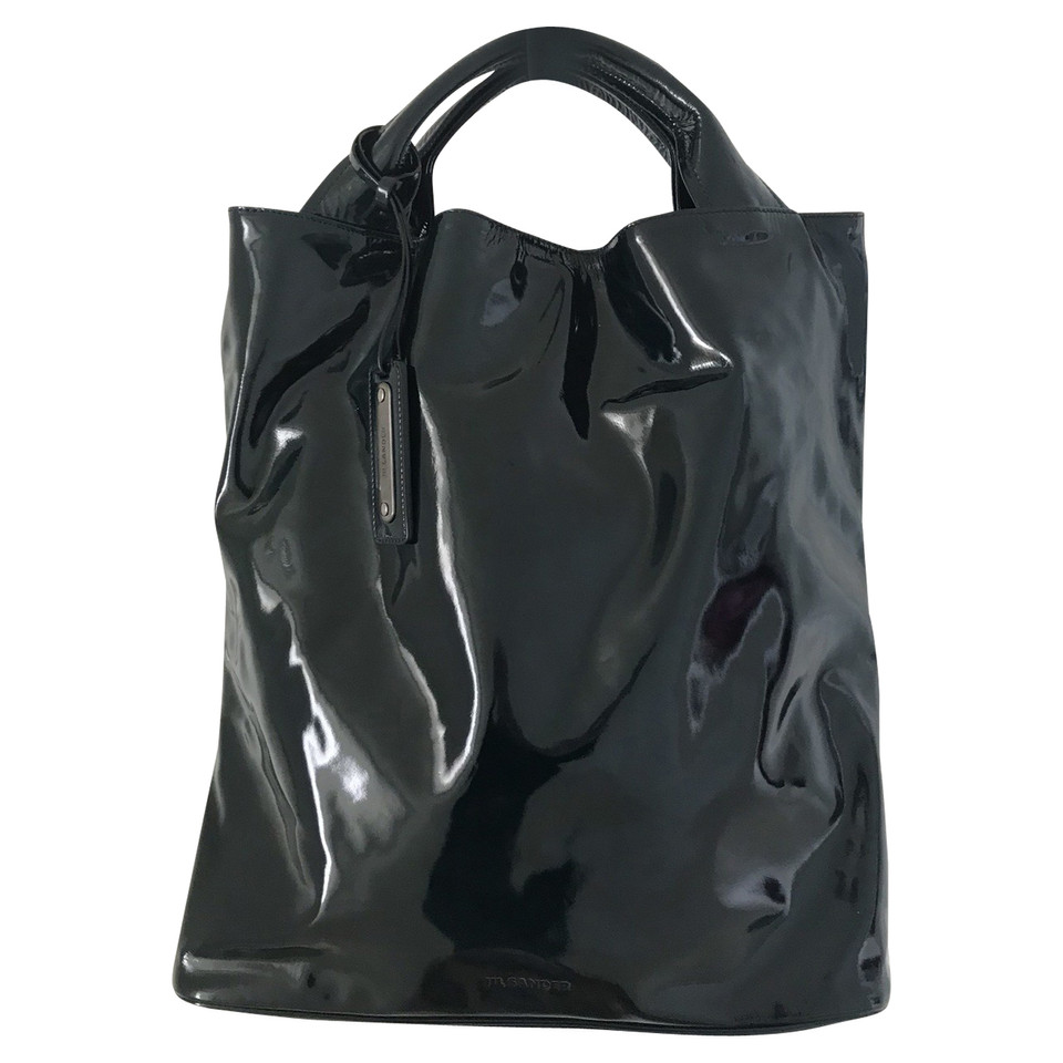 jil sander tote bag aus lackleder second hand jil sander. Black Bedroom Furniture Sets. Home Design Ideas