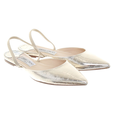 5c4875ea2721 Factory-Outlet-Online Jimmy Choo Slipper in Gold Gold Outlet Kaufen Hyper  Online Billig