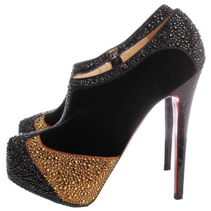 Christian Louboutin Velvet Pumps with Rhinestone
