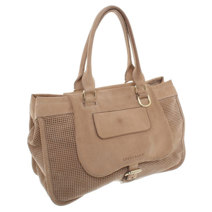 Longchamp Suede handbag with lace pattern