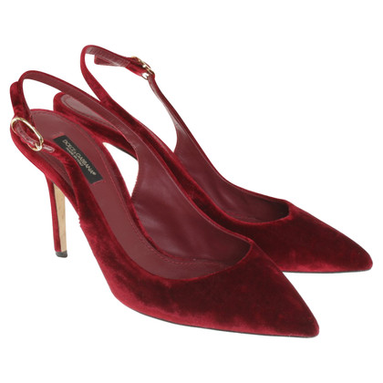 Dolce & Gabbana Velvet-pumps in red