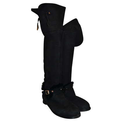 Jimmy Choo ladies black suede boots size 40