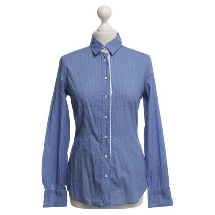 Van Laack Shirt blouse in blue / white