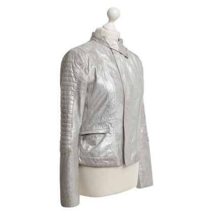 Guido Maria Kretschmer Silver-colored leather jacket