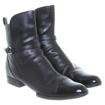 Maison Martin Margiela Leer enkel laarzen in zwart
