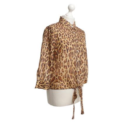 Velvet Silk blouse with leopard print