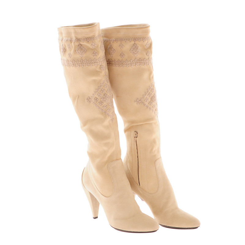 Ermanno Scervino Cream-coloured suede boots