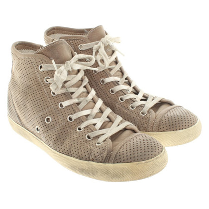 Leather Crown Sneakers in Taupe