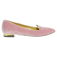 "Charlotte Olympia ""Kitty"" slippers in roze"