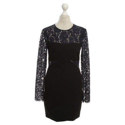 MSGM Sheath Dress With Lace Trim in midnight blue