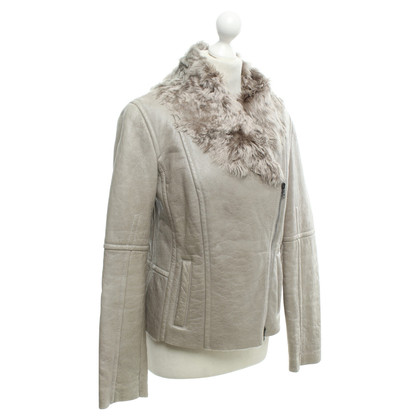 Marc Cain Lamb Leather Jacket in Beige