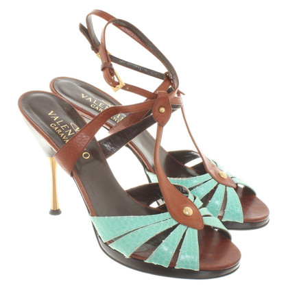 Valentino Sandals in brown / turquoise