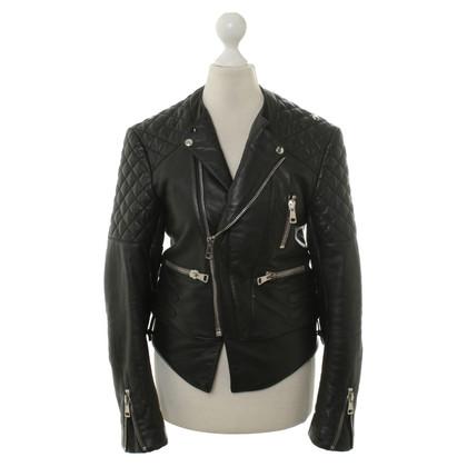 Balenciaga Biker leather jacket in black