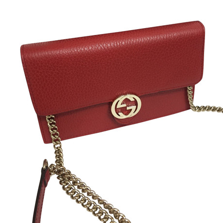 Wie Viel Gucci Portemonnaie mit Tragekette Rot Unter 50 Dollar Niedriger Versand KxkKtTd
